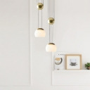 Mid Century Modern Dome Pendant Light Opal Glass 1 Light Suspension Light in Gold/Rose Gold