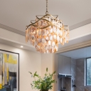 5 Lights 3 Tiers Pendant Lamp Village Style Shell Chandelier Lighting in Gold for Living Room