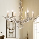 Rustic Candle Pendant Light with Crystal Accents Metallic Silver Leaf Chandelier Light