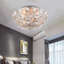 Unique Champagne Semi-Flush Contemporary Crystal 3 Light Candle Semi-Flush Mount Light for Bedroom