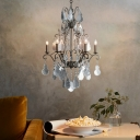 Crystal Chandelier Lighting with Candle French Country 6 Light Pendant Lamp in Pewter