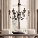 Solid Wood Chandelier Lighting with Candle Rustic 6 Lights Indoor Hanging Light