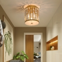 Gold Cylinder Ceiling Lights Modern Crystal Metal Ceiling Light Fixture for Hallway and Foyer