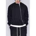 Mens New Fashion Solid Color Long Sleeve Diagonal Zip Up Sweatshirt