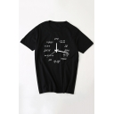 Clock Number Printed Round Neck Short Sleeve T-Shirt