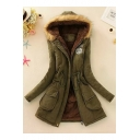 Womens New Trendy Fur-Trimmed Hooded Drawstring Waist Warm Longline Cotton Coat