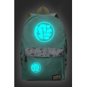 Light Green Fashion Comic Logo Floral Pattern Students School Bag Backpack 30*14.5*42cm