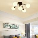 Contemporary Orb Semi-Flush Ceiling Light 5 Light Metal Flush Mount Light in Black/White for Bedroom