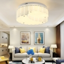 Contemporary Drum Flush Mount Ceiling Light Glass White Ceiling Light Fixture for Bedroom