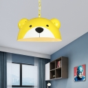 Single Head Bear Pendant Lamp with Hanging Chain Cartoon Metal Lighting Fixture