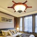 Vintage Wood Rudder Flush Lamp with White Glass Shade Bedroom Ceiling Flushmount