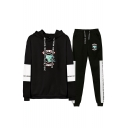 Fashion Snake Logo Print Colorblock Long Sleeve Hoodie with Sweatpants Two-Piece Set