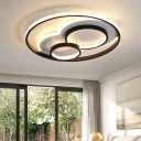 LED Ring Bedroom Ceiling Light Metal Frame Contemporary Flush Mount Suction Lamp in Black/White