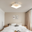 Bedroom Square Ceiling Flush Mount Lighting Metallic Nordic Style LED White Ceiling Lamp