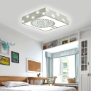 Crystal Accent Square Ceiling Flush Nordic Style LED Ceiling Light Fixture in White