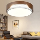Brown Drum Ceiling Light Fixture LED Modern Simple Acrylic Flush Mount Lighting for Bedroom