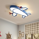 Cartoon Aircraft Ceiling Lamp Metal and Acrylic Led Flush Mount Light for Kindergarten