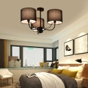 Drum Shade Indoor Pendant Light Modern Fabric Chandelier Lighting for Living Room