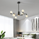 Height Adjustable Modo Hanging Light with Clear Glass Shade Contemporary Led Pendant Light in Black