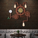 Copper Gear Sconce Light Fixture Aged Iron 3 Light Pipe Wall Sconce Light Fixture for Restaurant Coffee Shop