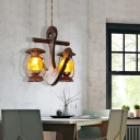 Anchor Island Light Mediterranean Wood and Iron 2 Light Island Pendant with Yellow Ribbed Glass over Island