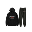 Letter Michael Scott Print Casual Hoodie with Sport Joggers Two-Piece Set