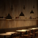 Cappuccino Pendant Ceiling Lights Modern Metal Pulley Hanging Lamps with Dome Shade for Coffee Shop