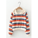 Color Block Striped Printed Long Sleeve Loose Hoodie For Girls