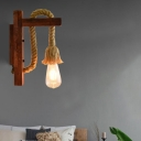 Woven Rope Wall Mounted Light Rustic 1 Light Wood Wall Sconce Lighting for Restaurant and Bar