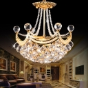 Modern Crystal Ball Pendant Lights Steel Bowl Pendant Chandelier in Gold for Living Room