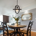 Sphere Hanging Light Fixtures for Dining Room, Vintage Iron 1 Light Pendant Lights with Crystal in Black