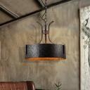 Antique Steel Drum Pendant Light Fixtures Retro Style Metal 3/6 Light Hanging Lights for Restaurant