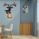Loft Style Deer Wall Mount Lamp with Gourd Shade Resin Single Light Sconce Lamp