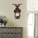 Industrial Lantern Wall Light 1 Light Outdoor Sconce Light with Resin Deer Decoration