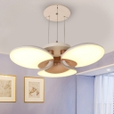 Nordic Style Floral Chandelier with Acrylic Shade and Adjustable Cord Led Bedroom Pendant Light