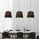 Modernism Tapered Suspension Light with Adjustable Cord 1 Light Fabric Pendant Light