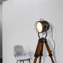 Black Tripod Table Lamps Antique Wood and Iron 1 Head Cage Desk Lamp for Bedroom Bedside