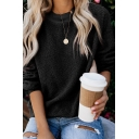 Hot Popular Round Neck Long Sleeve Fluffy  Fleece Loose Casual Sweatshirt