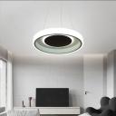 Integrated Led Round Pendant Light Rustproof Simplicity Metal Hanging Ceiling Light