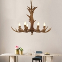 6 Lights Candle Hanging Lamp with Resin Antler Loft Style Chandelier Light with Adjustable Chain