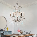 French Country Candle Chandelier with Crystal Strands Wrought Iron Hanging Pendant Light in Antique Silver