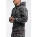 Mens New Fashion Camouflage Print Long Sleeve Casual Sports Hoodie With Kangaroo Pocket