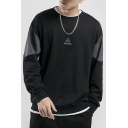 Mens Cool Fashion Letter CAUTION Embroidery Detail Long Sleeve Round Neck Black Casual Sweatshirt