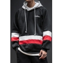 Mens Trendy Letter Embroidered Colorblock Striped Long Sleeve Casual Sports Hoodie
