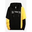 Mens Trendy Colorblock Patched Letter Printed Long Sleeve Casual Loose Fit Fake Two-Piece Pullover Hoodie
