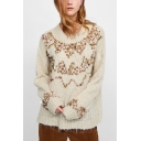Stylish Ladies Plain Sequined Round Neck Drop Sleeve Chenille Knitwear Sweater
