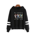 Stranger Things Cartoon Figure Friends Don't Lie Stripe Long Sleeve Pullover Hoodie