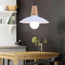 Industrial Modern Scalloped Hanging Light Fixture Iron and Wood Single Bulb Pendant Lights