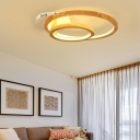 2-Tier Ring Ceiling Light Fixture Contemporary Wood Flush Mount Ceiling Light for Bedroom