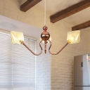 Hallway Kitchen Hanging Lamp Metal and Glass 3 Lights Rose Gold Chandelier with Amber/Clear Shade